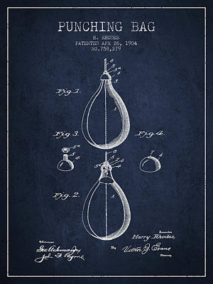 Striking Bag Digital Art - 1904 Punching Bag Patent Spbx12_nb by Aged Pixel