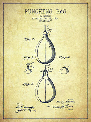 Striking Bag Digital Art - 1904 Punching Bag Patent Spbx12_vn by Aged Pixel