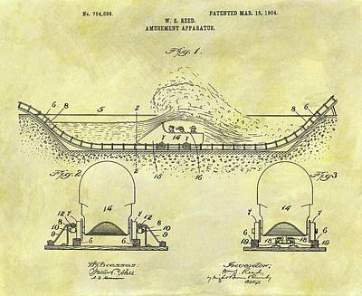 1904 Drawing - 1904 Roller Coaster Patent by Dan Sproul