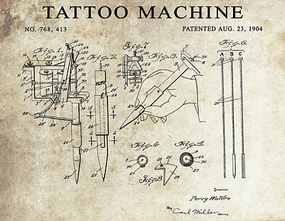 Rock And Roll Drawings - 1904 Tattoo Machine Patent  by Dan Sproul