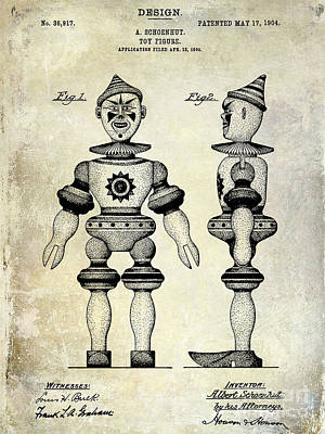 Clown Photograph - 1904 Toy Patent Drawing by Jon Neidert