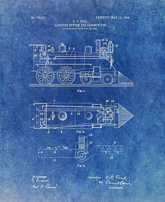 Passengers Mixed Media - 1904 Train Patent by Dan Sproul
