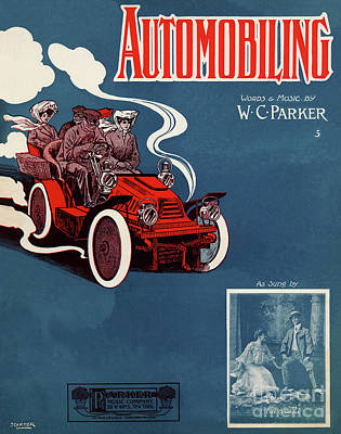 Old Sheet Music Drawing - 1905 Automobiling by Aapshop