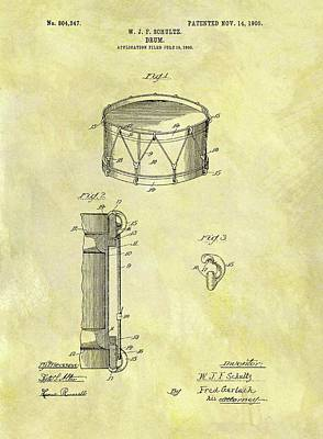 Musicians Drawings Rights Managed Images - 1905 Drum Patent Royalty-Free Image by Dan Sproul