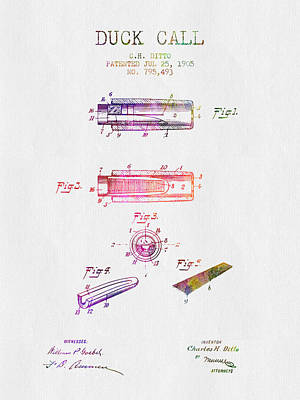 Old Instruments Digital Art - 1905 Duck Call Instrument Patent - Color by Aged Pixel
