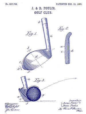 1905 Golf Club Patent Blueprint Art Print