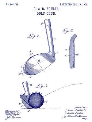 1905 Golf Club Patent Blueprint Print by Jon Neidert