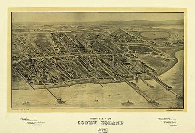 Sea View Drawing - 1906 Bird's Eye View Coney Island by Dan Sproul