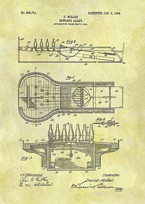 1906 Bowling Alley Patent Art Print