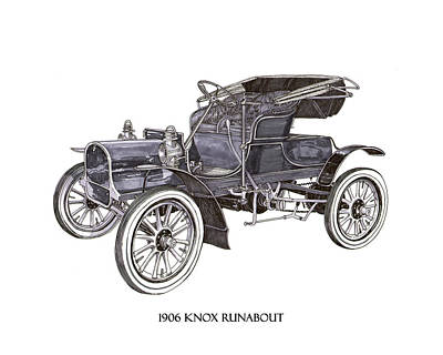 Drawing - 1906 Knox Model F 3 Surry by Jack Pumphrey