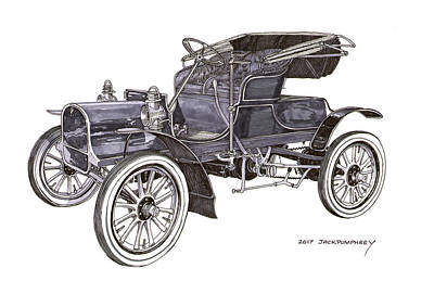 Drawing - 1906 Knox Runabout by Jack Pumphrey