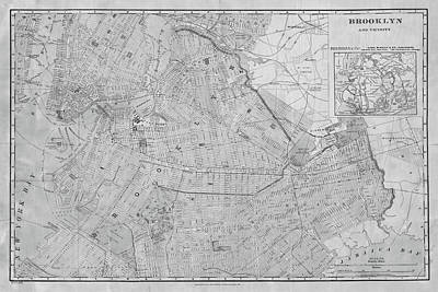 1906 Map Of Brooklyn Ny New York In Black And White Art Print