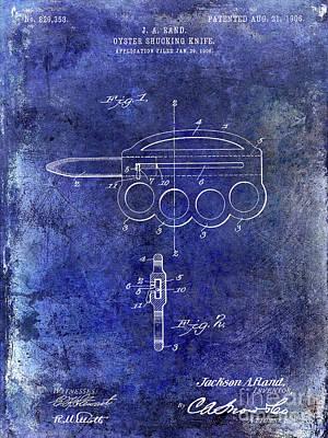 Hobart Photograph - 1906 Oyster Shucking Knife Patent Blue by Jon Neidert