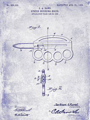 Oyster Photograph - 1906 Oyster Shucking Knife Patent Blueprint by Jon Neidert