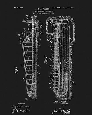 Rollercoaster Mixed Media - 1906 Roller Coaster Patent by Dan Sproul