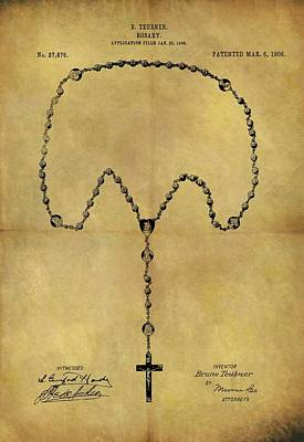 Drawing - 1906 Rosary Patent by Dan Sproul