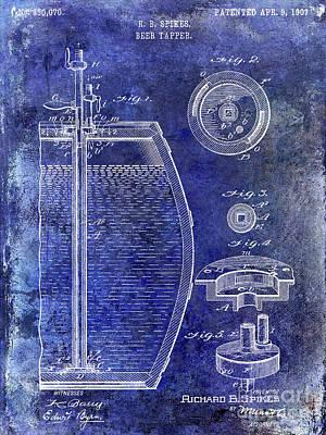 Stein Photograph - 1907 Beer Tapper Patent Blue by Jon Neidert