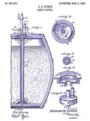 Stein Photograph - 1907 Beer Tapper Patent Blueprint by Jon Neidert