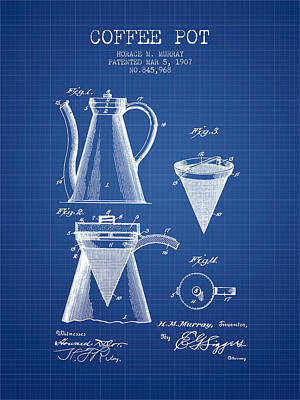 House Drawing - 1907 Coffee Pot Patent - Blueprint by Aged Pixel