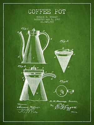 Java Drawing - 1907 Coffee Pot Patent - Green by Aged Pixel