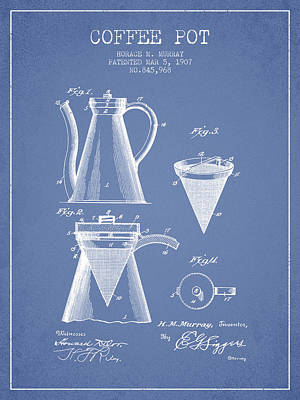Coffee Drawing - 1907 Coffee Pot Patent - Light Blue by Aged Pixel