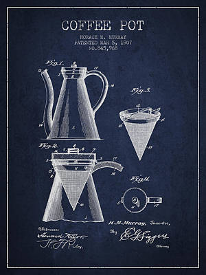Coffee Maker Drawing - 1907 Coffee Pot Patent - Navy Blue by Aged Pixel