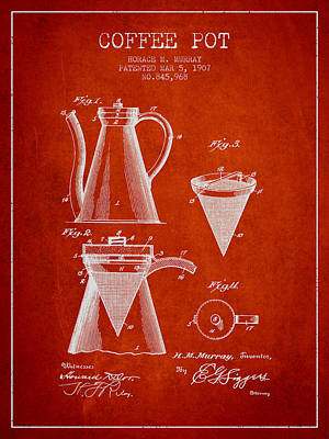 Coffee Maker Drawing - 1907 Coffee Pot Patent - Red by Aged Pixel
