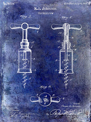 1907 Corkscrew Patent Blue Art Print by Jon Neidert