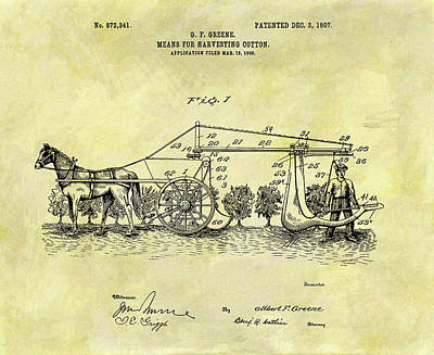 1907 Mixed Media - 1907 Cotton Harvester Patent by Dan Sproul