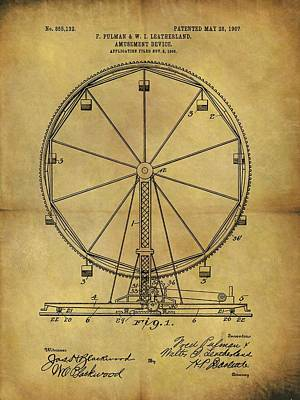 1907 Drawing - 1907 Ferris Wheel Patent by Dan Sproul
