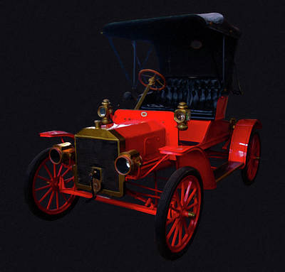 1907 Painting - 1907 Ford Model R Digital Oil by Chris Flees