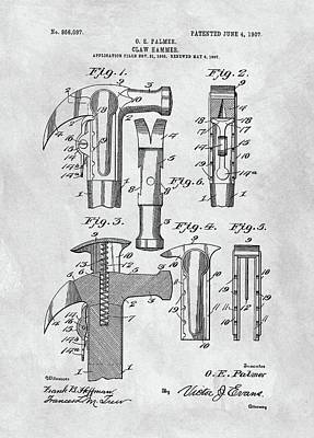 Drawing - 1907 Hammer Patent by Dan Sproul