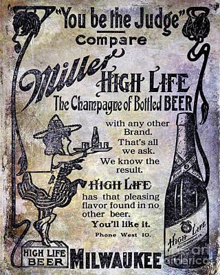 1907 Photograph - 1907 Miller Beer Advertisement by Jon Neidert