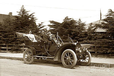 Photograph - 1907 Oldsmobile  Runabout In Pacific Grove Circa 1908 by California Views Archives Mr Pat Hathaway Archives