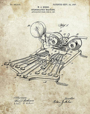 Glass Art - 1907 Stenographic Machine Patent by Dan Sproul