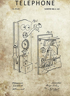 Drawing - 1907 Telephone by Dan Sproul