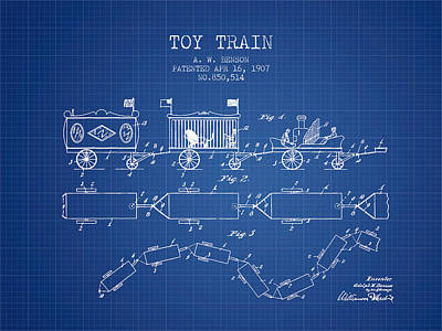 Train Drawing - 1907 Toy Train Patent - Blueprint by Aged Pixel