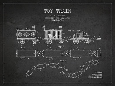 Transportation Digital Art Rights Managed Images - 1907 Toy Train Patent - Charcoal Royalty-Free Image by Aged Pixel