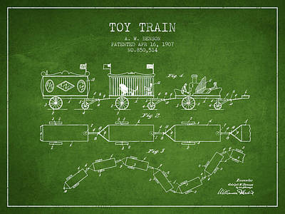 Train Drawing - 1907 Toy Train Patent - Green by Aged Pixel