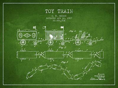 Train Digital Art - 1907 Toy Train Patent - Green by Aged Pixel