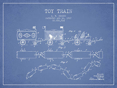 Train Drawing - 1907 Toy Train Patent - Light Blue by Aged Pixel