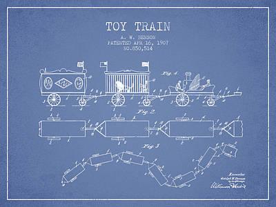 Train Digital Art - 1907 Toy Train Patent - Light Blue by Aged Pixel