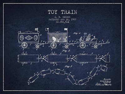 Train Drawing - 1907 Toy Train Patent - Navy Blue by Aged Pixel