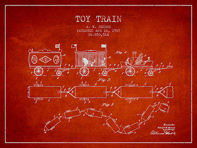 Train Drawing - 1907 Toy Train Patent - Red by Aged Pixel