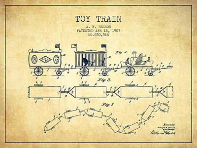Train Digital Art - 1907 Toy Train Patent - Vintage by Aged Pixel