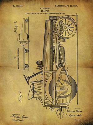Drawing - 1907 Tractor Patent by Dan Sproul