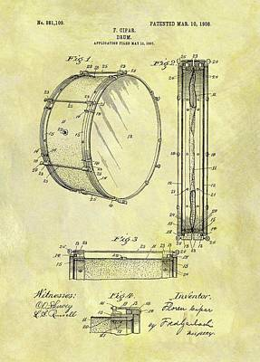 Musicians Drawings - 1908 Drum Patent by Dan Sproul