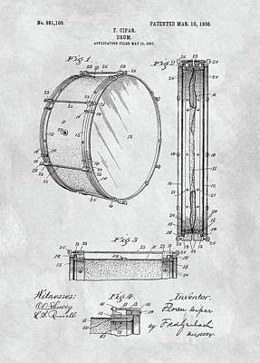 Musicians Drawings - 1908 Drum Patent Illustration by Dan Sproul