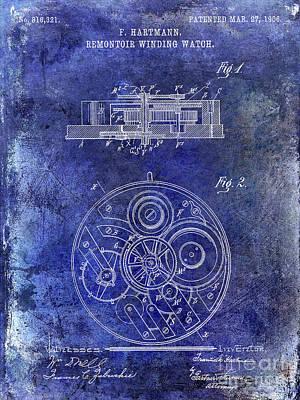 1908 Pocket Watch Patent Blue Art Print