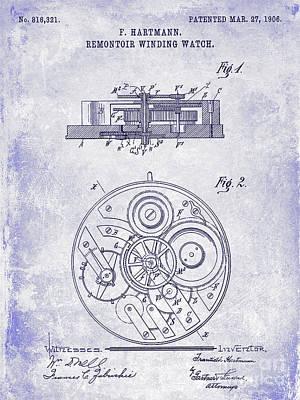 1908 Pocket Watch Patent Blueprint Art Print